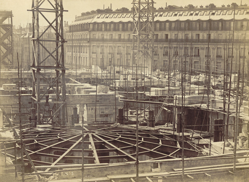 The construction site of the Opera Garnier in Paris (France). On May 14, 1864.